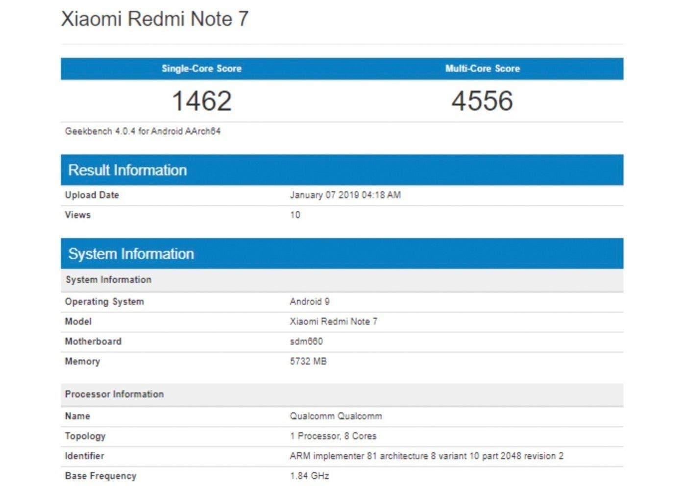 Xiaomi Redmi Note 7 filtrado